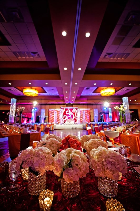 Decorated ballroom for indian wedding stock photo