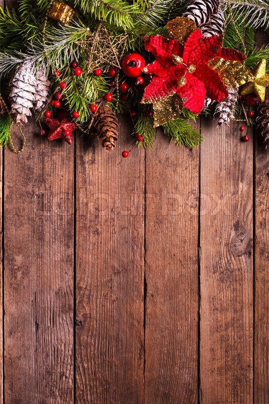 Christmas Wood Background.Christmas Border Design On The Wooden Stock Image
