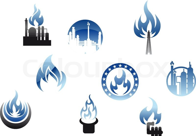 Gas Industry Symbols And Icons Stock Vector Colourbox