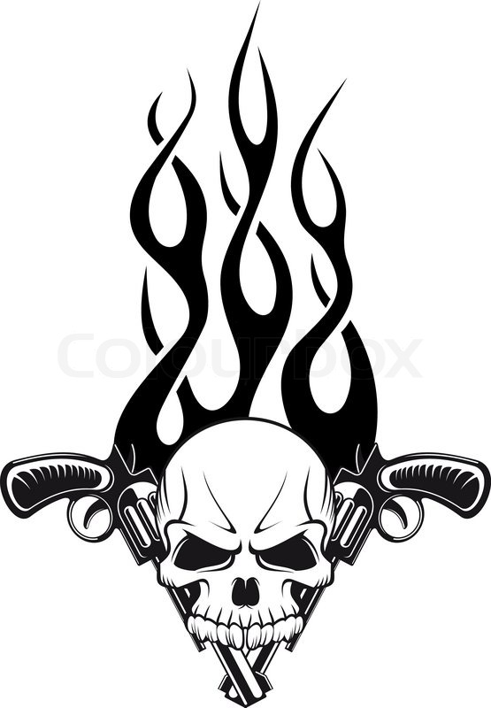 Human Skull With Gun Stock Vector Colourbox