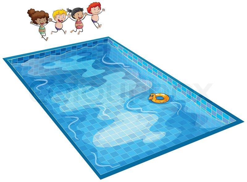 Schwimmbad comic kinder  Ein Junge und ein Schwimmbad | Vektorgrafik | Colourbox