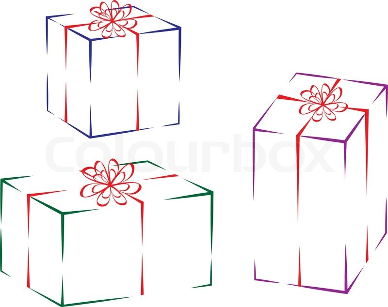 Christmas Presents Outline On White Background Vector