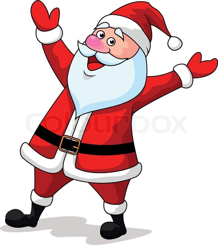 vector illustration of santa clause cartoon waving hands | stock