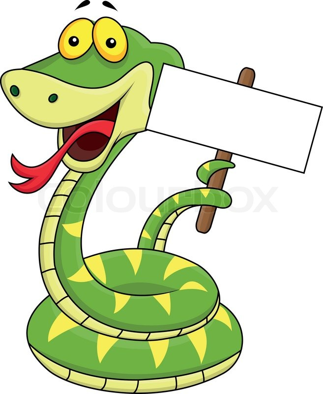 Vector illustration of snake cartoon with blank sign