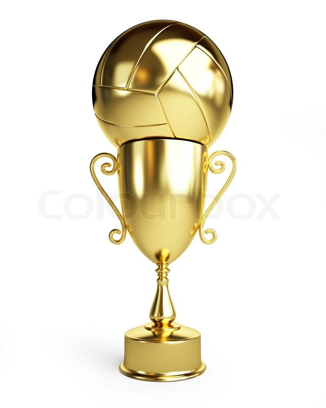 gold trophy cup volleyball stock photo colourbox