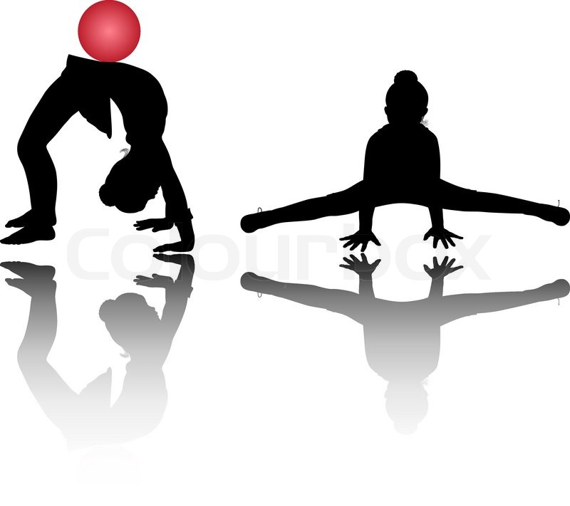 silhouettes of girl gymnasts stock vector colourbox
