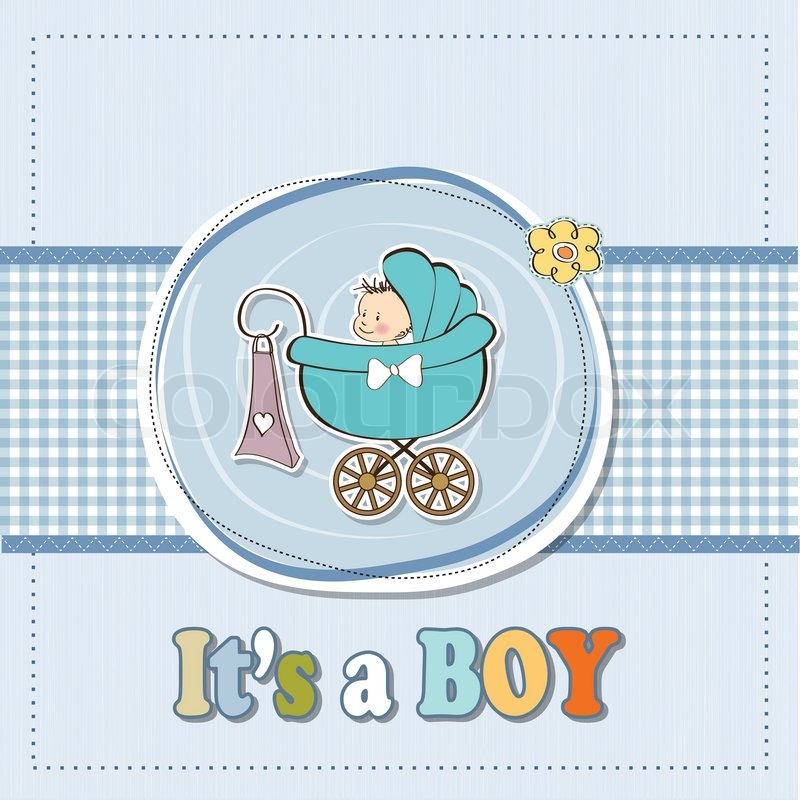 Baby Shower Wiki: Baby Boy Announcement Card With Baby And Pram