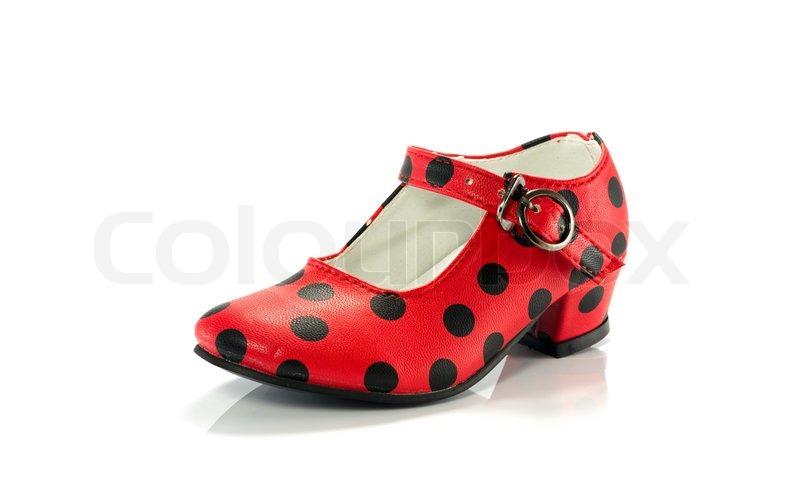 23dd339d43d Rød sko med sorte prikker | Stock foto | Colourbox