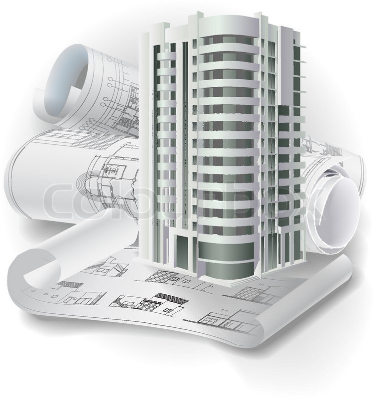 architectural background with a 3d building model and rolls of