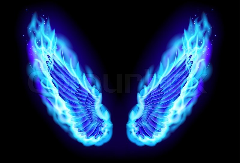 Blue fire wings | Stock Photo | Colourbox