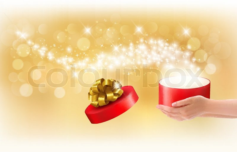 Christmas Background With Gift Magic Box Concept Of