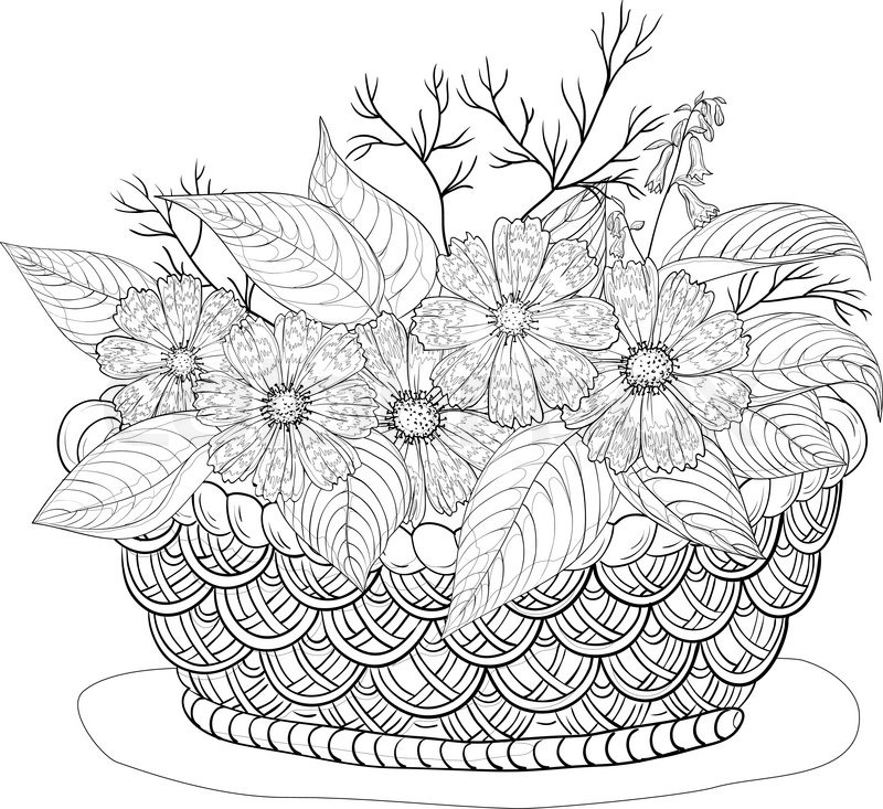 how to draw a easy flower basket