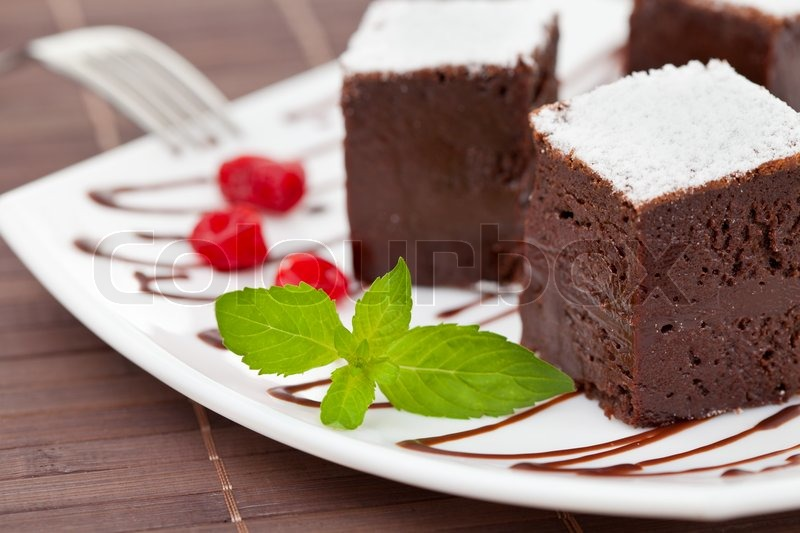 Sweet brownies or chocolate cakes, stock photo