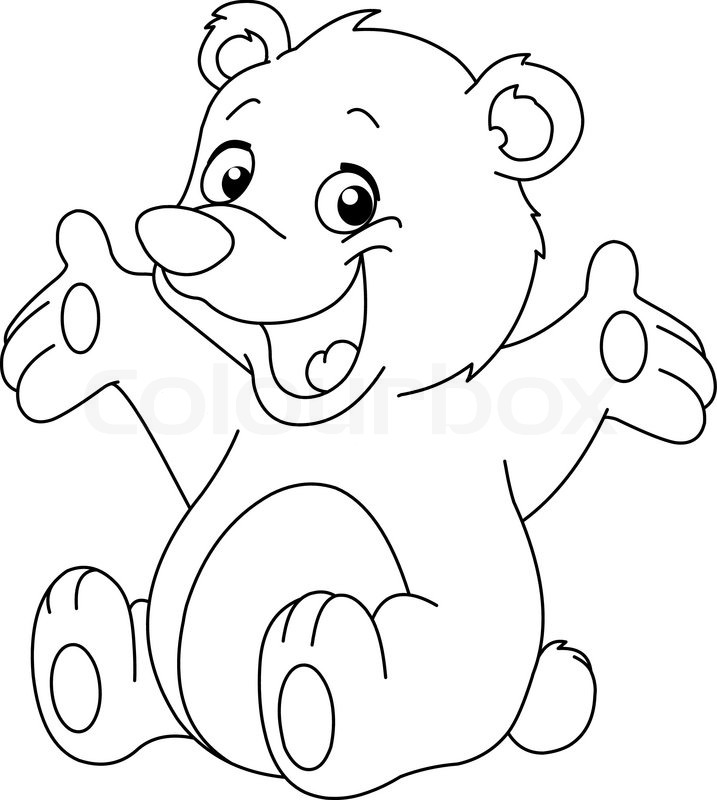 Picture Coloring Book: Vectoroutlined Happy Teddy Bear Raising Armscoloring  Page