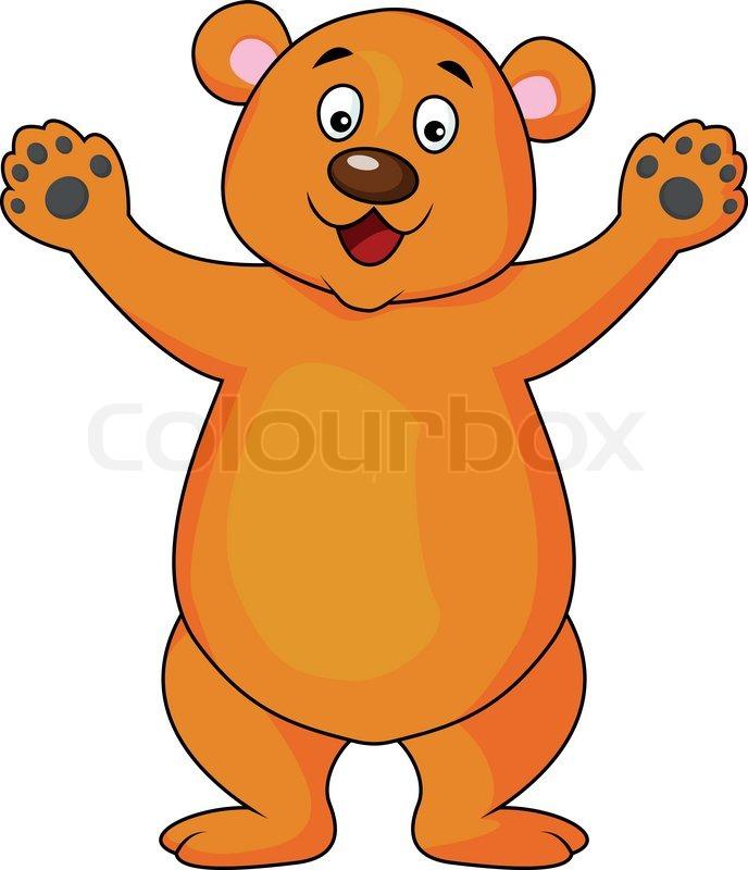 Funny brown bear cartoon | Stock Vector | Colourbox