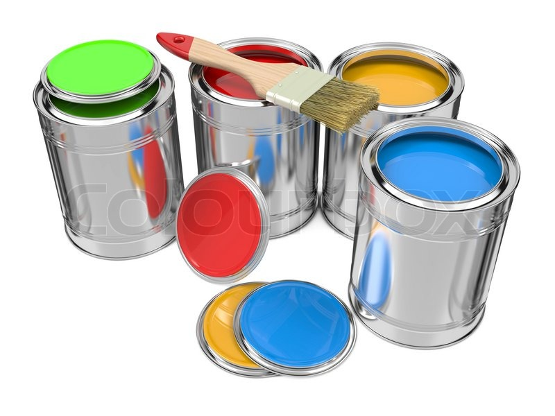 group of colorful paint cans with paintbrush stock photo colourbox