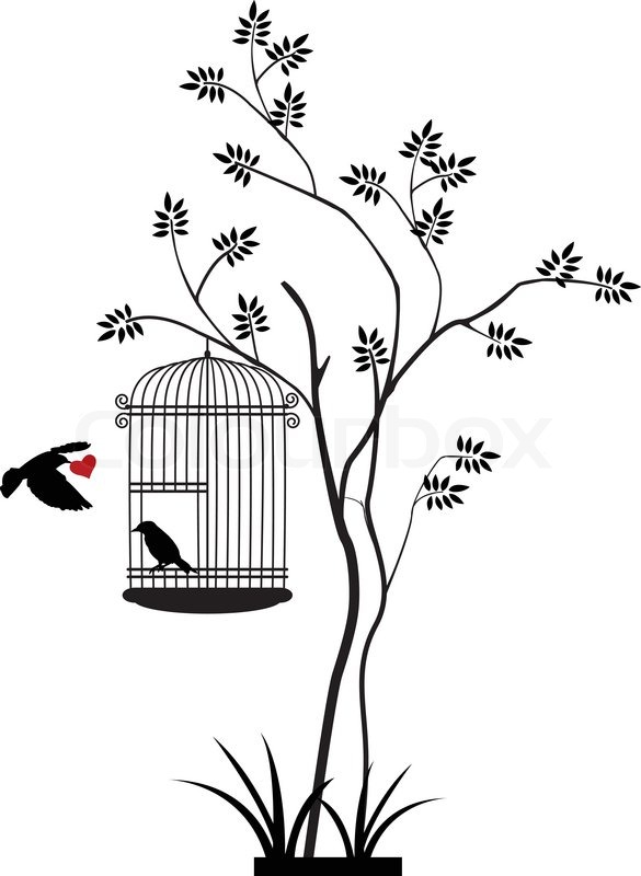Vector illustration of illustration flying birds with a ...