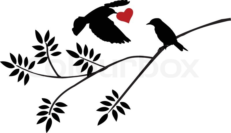 Vector Illustration Of Flying Bird Silhouette With A Love For Birds On Branch  Colourbox