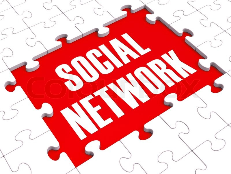 Social Network Puzzle Shows Virtual Interactions, stock photo