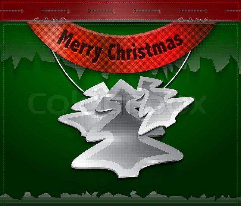 vector merry christmas card hanging metallischen. Black Bedroom Furniture Sets. Home Design Ideas