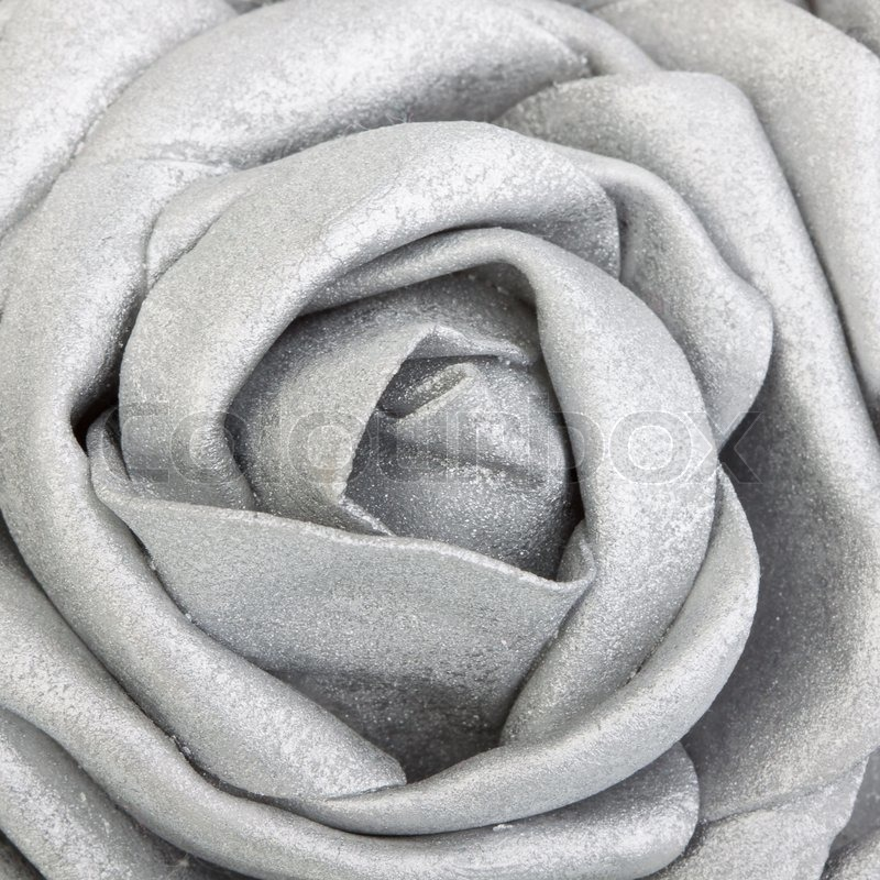 Close Up Of A Silk Silver Rose