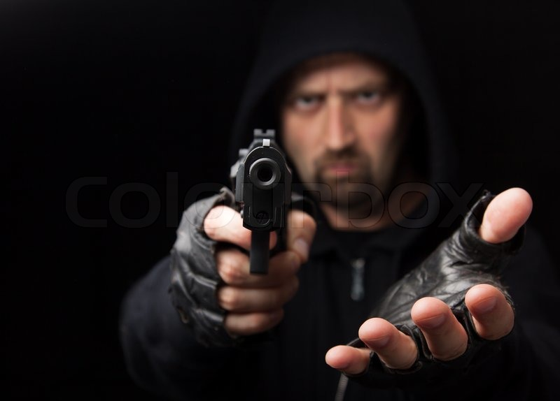 Robber Holding Gun Robber With Gun Holding Out