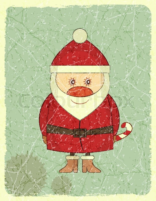 merry christmas vintage card with santa claus stock vector colourbox