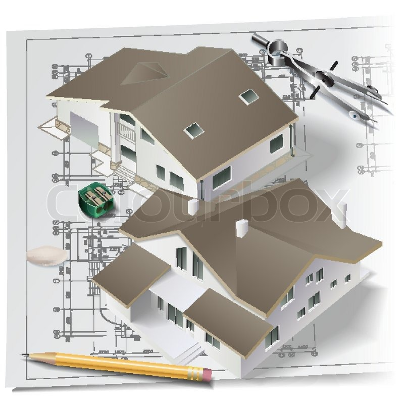 Architectural Background With A 3D Building Model Drawing Tools And Rolls Of Drawings Vector Clip Art