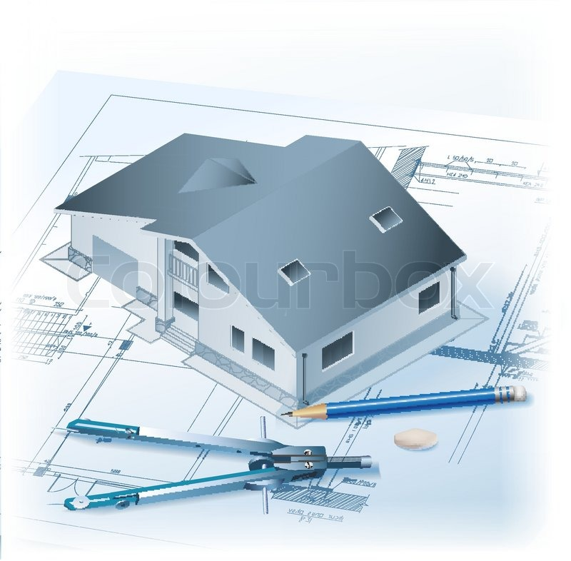 Architectural Background With A 3D Building Model, Drawing