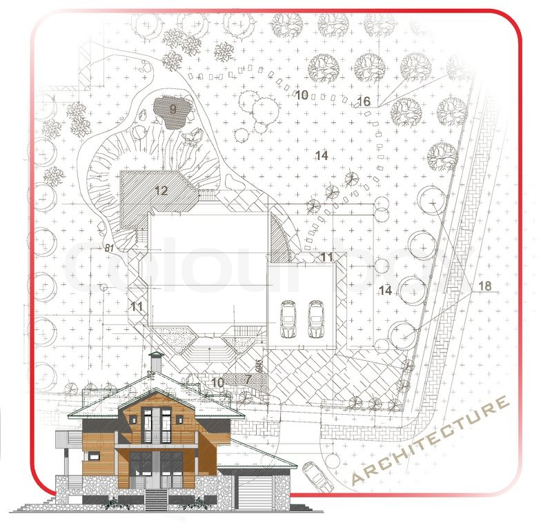 Architectural background with a 3D building model Part of