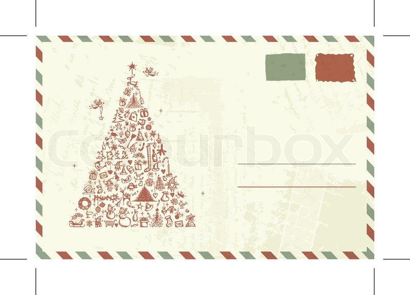 umschlag mit weihnachten skizze und platz f r ihren text. Black Bedroom Furniture Sets. Home Design Ideas
