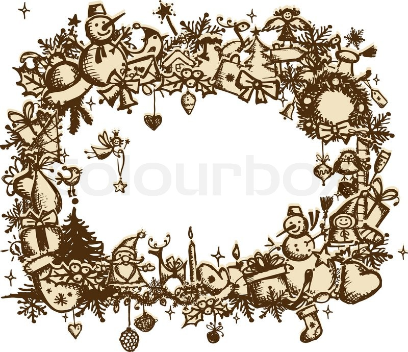 Christmas frame, sketch drawing for your design | Stock Vector ...