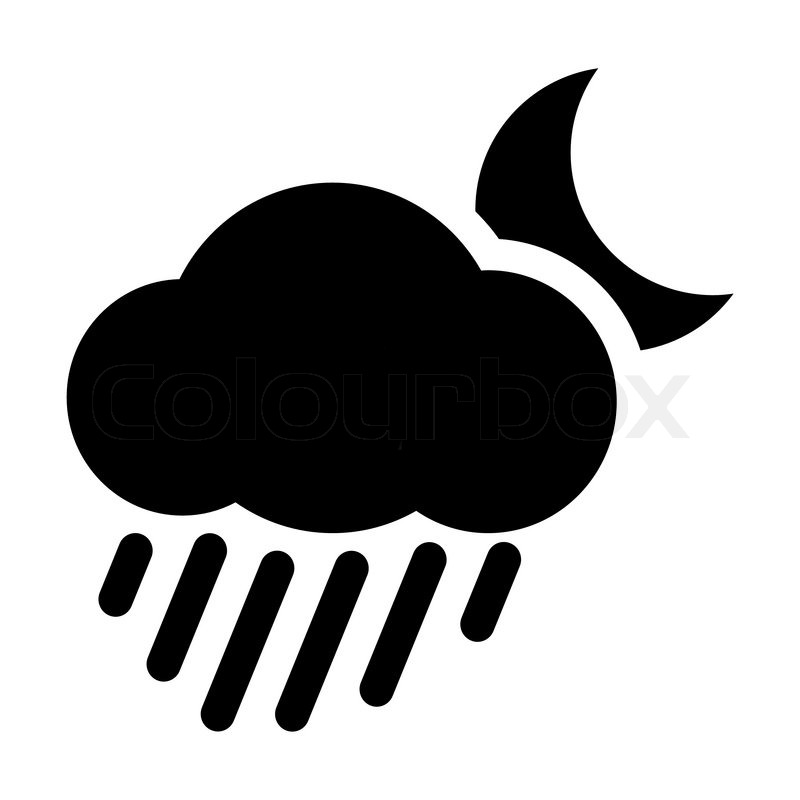 Weather icon - Moon cloud rain | Stock Vector | Colourbox