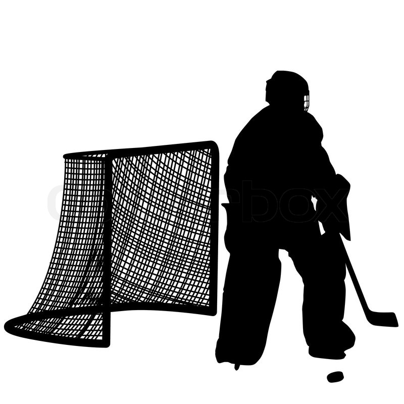 Silhouettes Of Hockey Player Stock Vector Colourbox