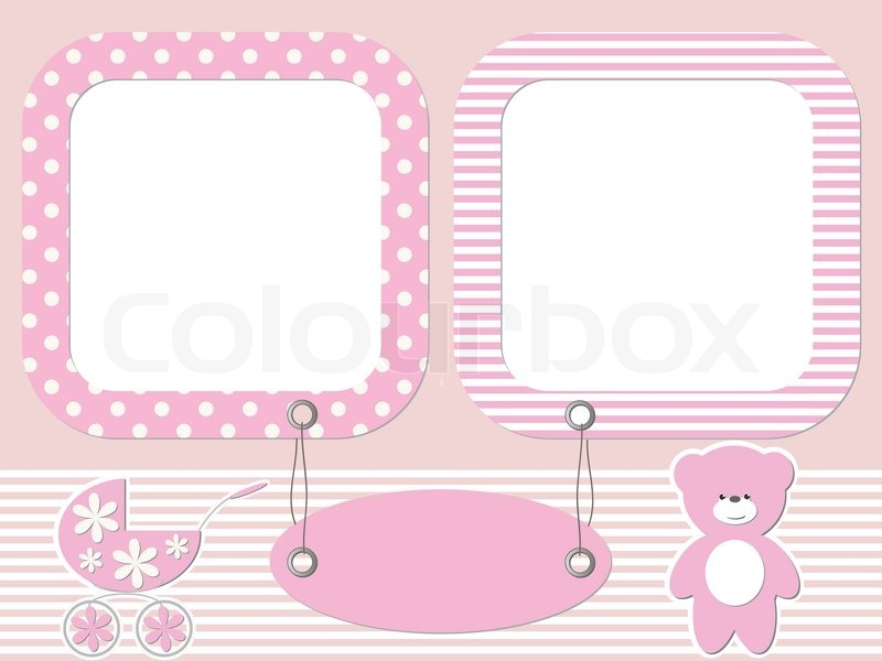 Pink baby photo frames | Stock Vector | Colourbox
