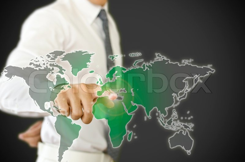 Business man pressing to change black world to green world, stock photo