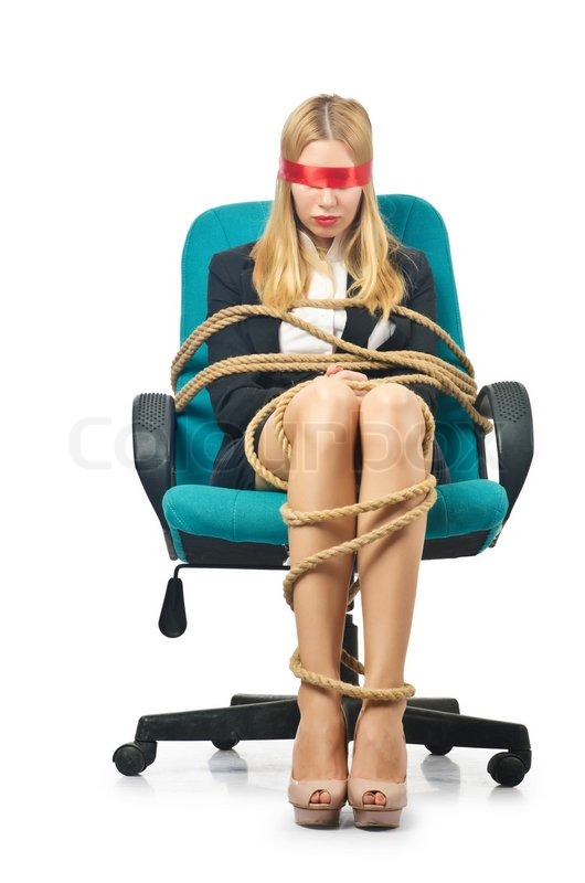 Businesswoman woman tied up with rope on white | Stock Photo