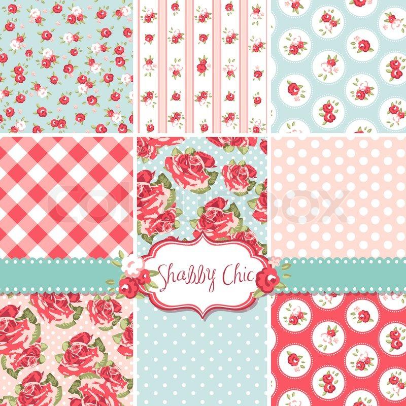 shabby chic rose patterns und nahtlose hintergr nde ideal zum drucken auf stoff und papier oder. Black Bedroom Furniture Sets. Home Design Ideas