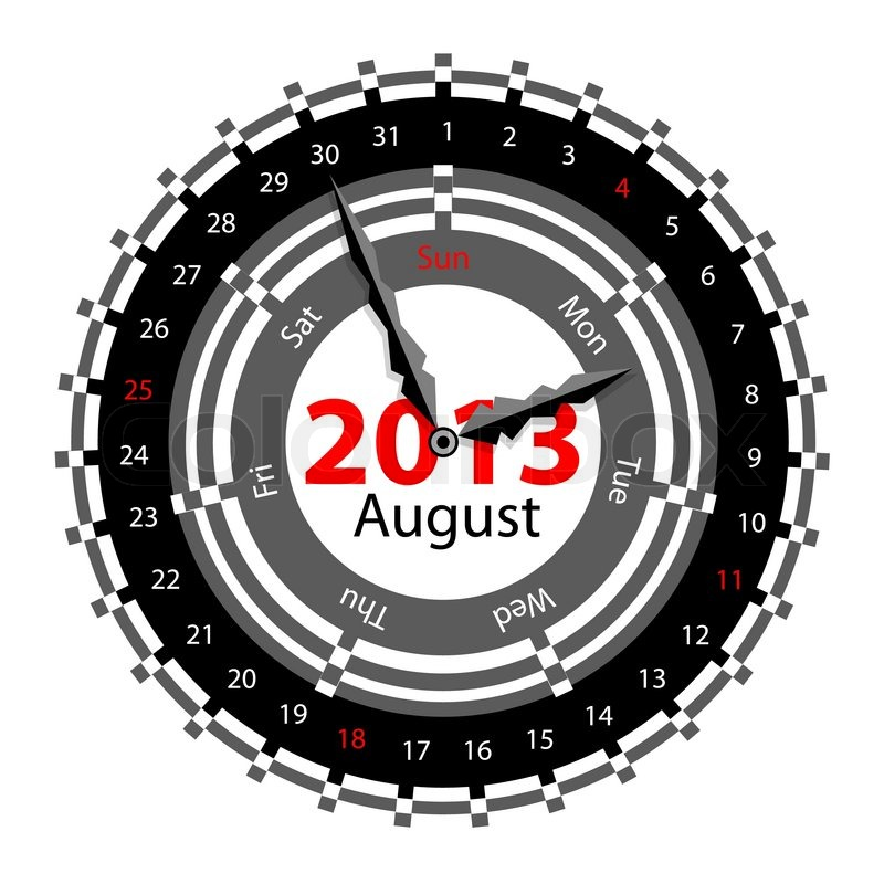 Stock vector of 'Creative idea of design of a Clock with circular calendar for 2013 August'