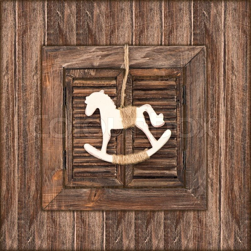 christmas decoration rocking horse on wood stock photo colourbox - Horse Christmas Decorations