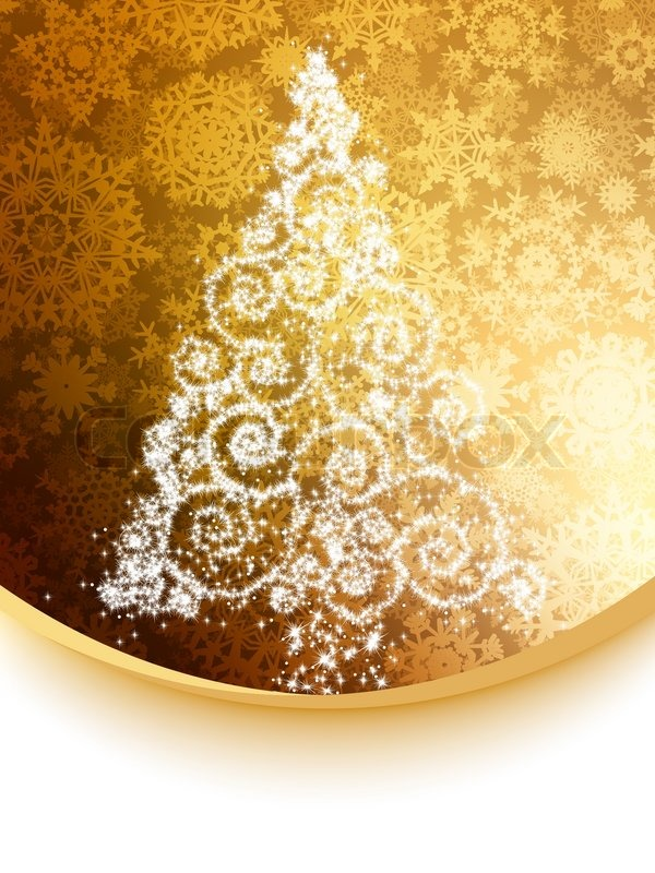 Abstract White Christmas Tree On Golden EPS 8