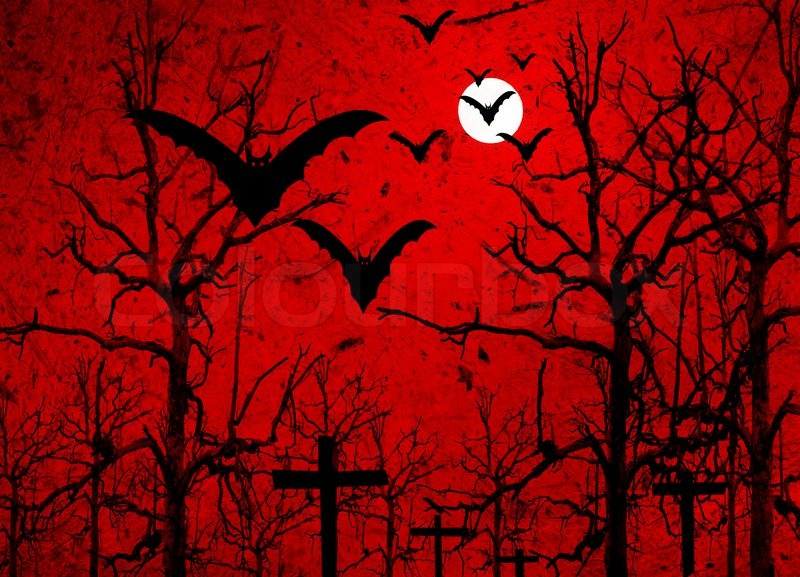halloween background with bats and full moon stock photo