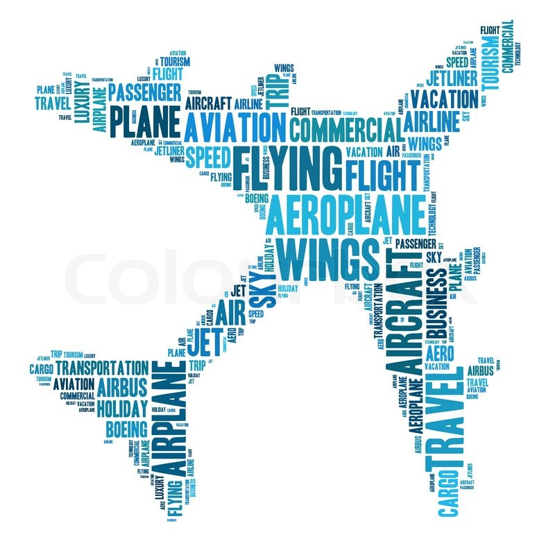 aeroplane info text graphics and arrangement word clouds concept