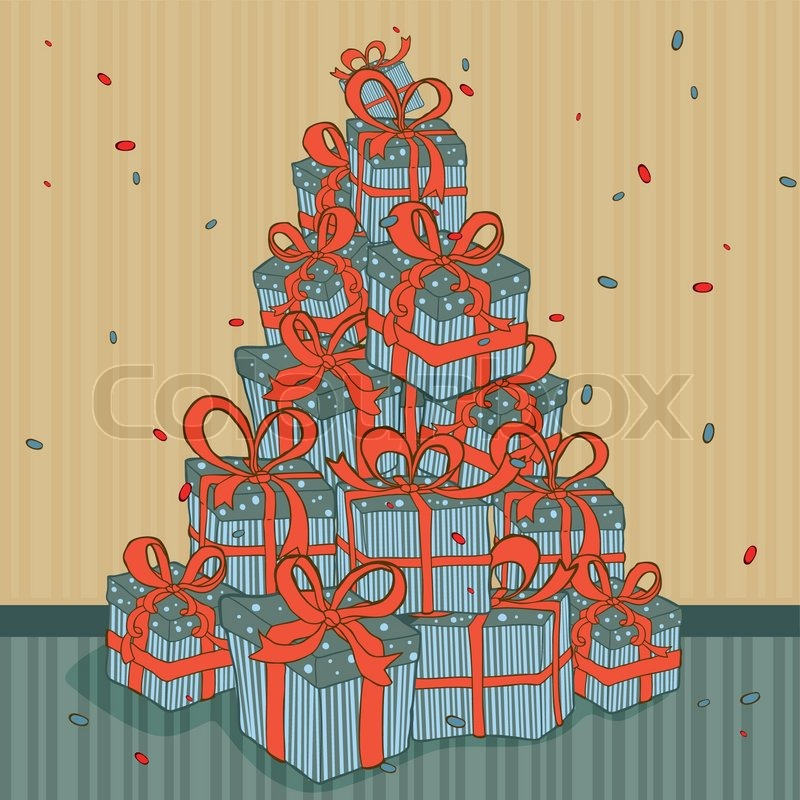 Christmas tree background made of present gift boxes pile | Stock Vector |  Colourbox