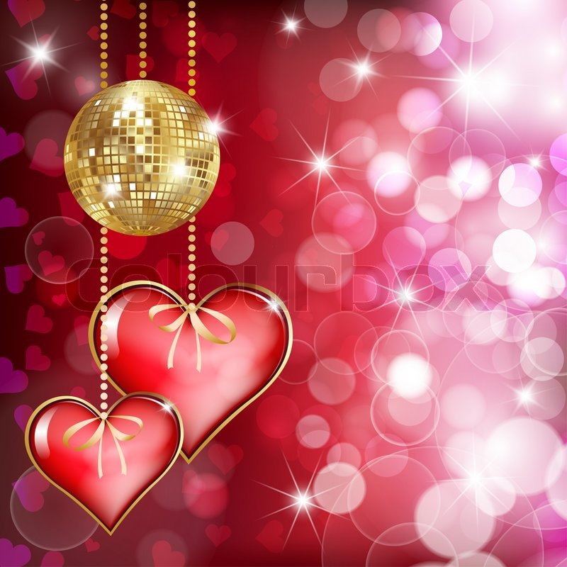 two hearts and gold disco bal stock photo colourbox