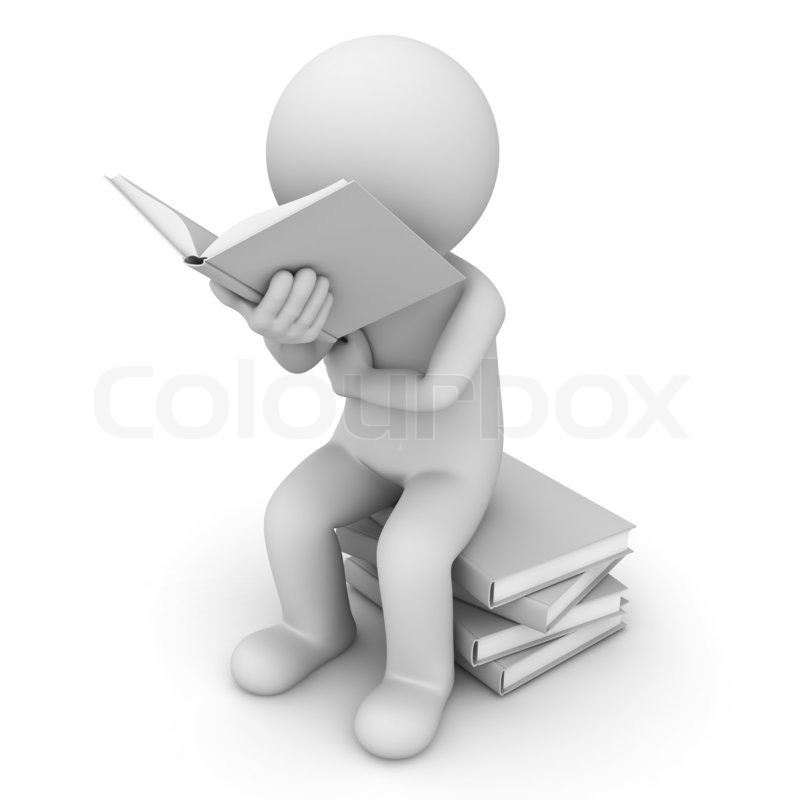 3d man sitting on a pile of books and reading book over Student Sitting at Desk Clip Art Black and White Student Sitting at Desk Doing a Puzzle Clip Art