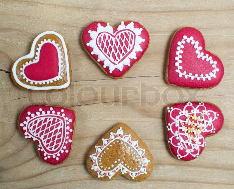 Gingerbread Cookie Heart Stock Image Colourbox