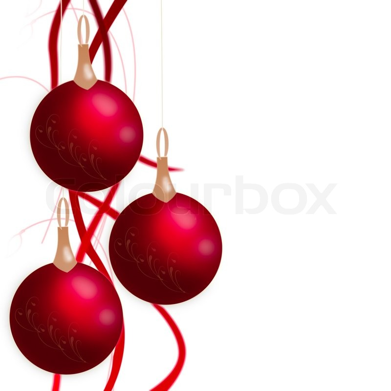 Weihnachtskugeln h ngen mit b ndern isoliert auf wei em - Bilder weihnachtskugeln ...