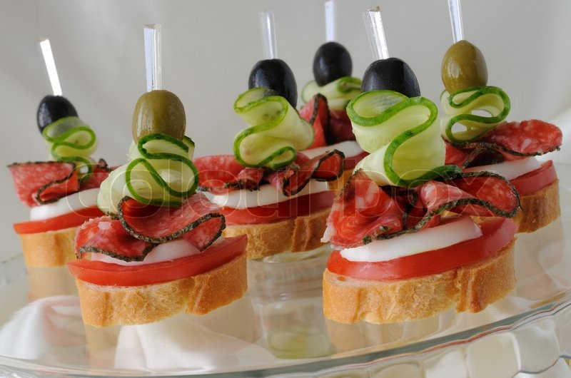Canap s with salami stock photo colourbox for Italian canape ideas