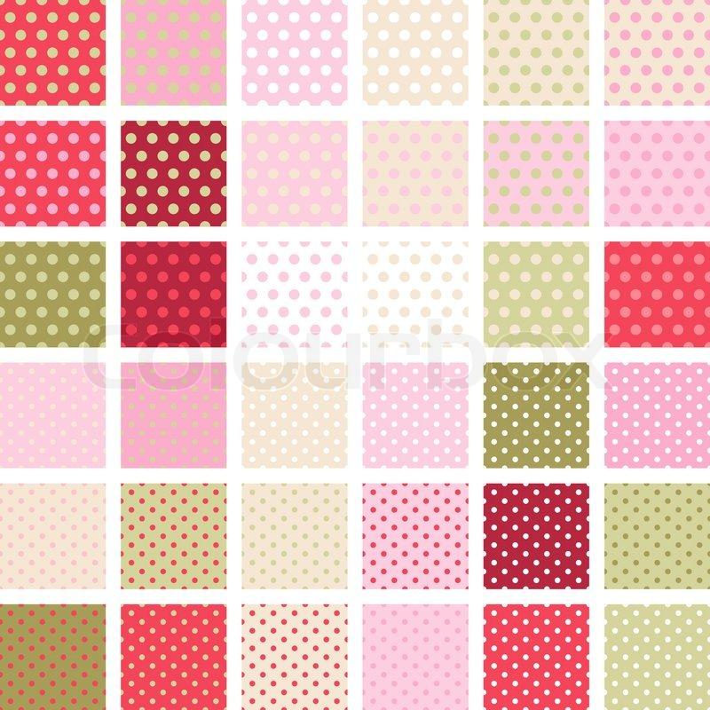 Seamless abstract retro pattern Set of 36 polka dots textures  Vector ...